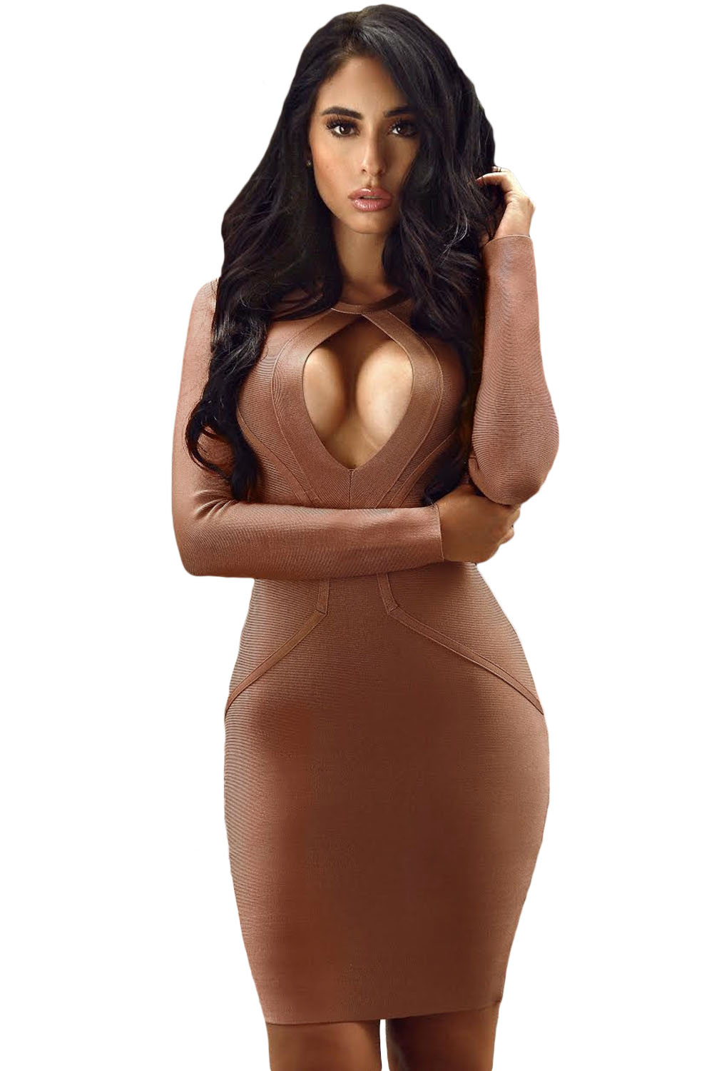 Round Neck Long Sleeve Bandage Dress