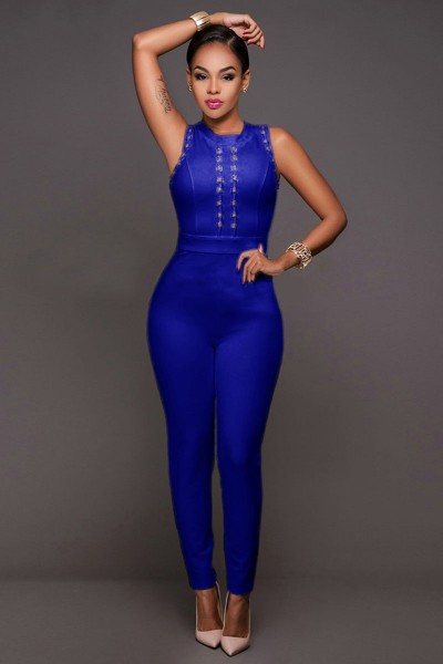 Stunning little blue bandage jumpsuit