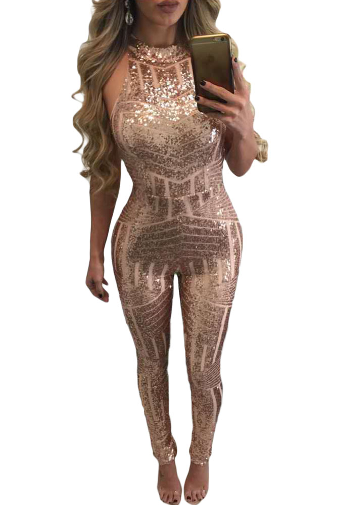 Blush Sleeveless Turtle Neck Sequin Jumpsuit