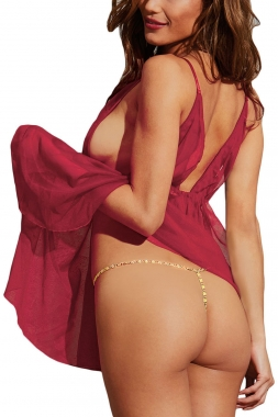Burgundy Lingerie Set detailed with Gold Chain