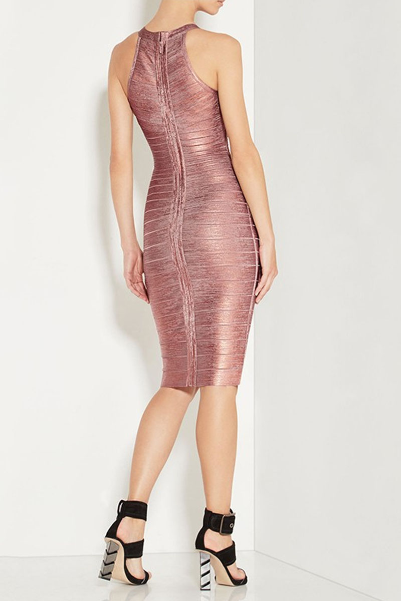 Mini Pink Foil Bandage Dress