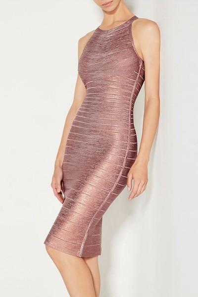 Mini Pink Foil Bandage Dress