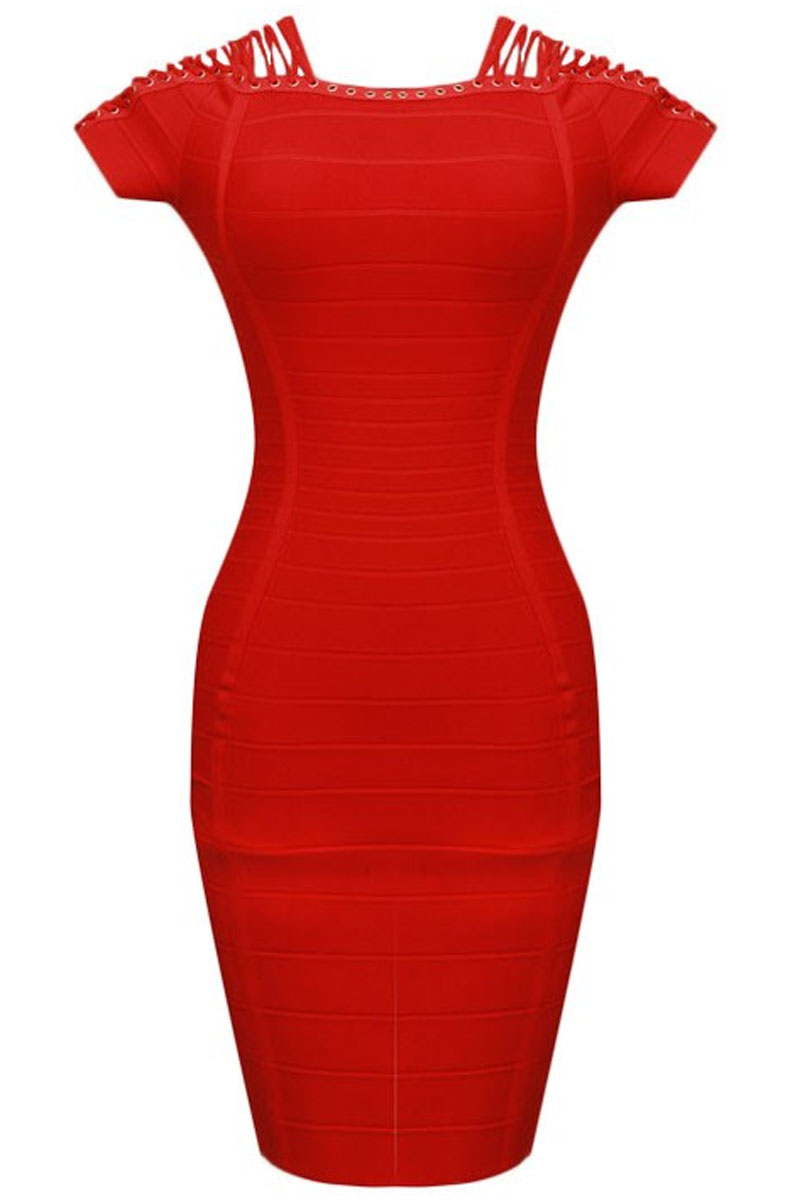 Red Mini Shoulder Cross Lace Bandage Dress