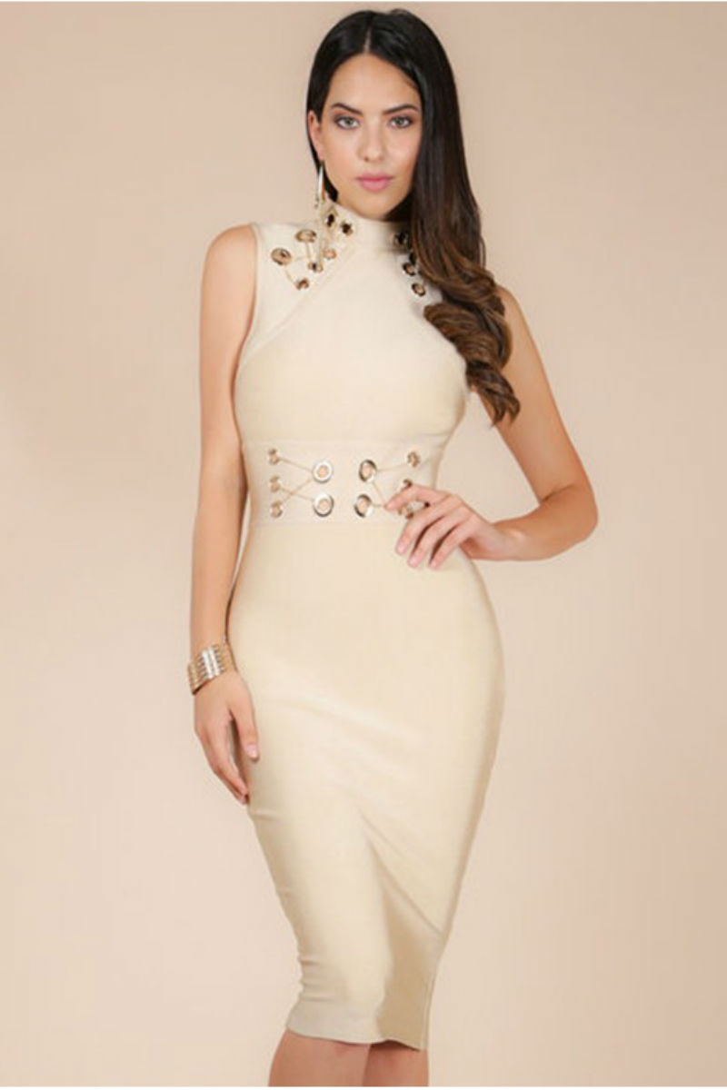 Nude dress with chain details