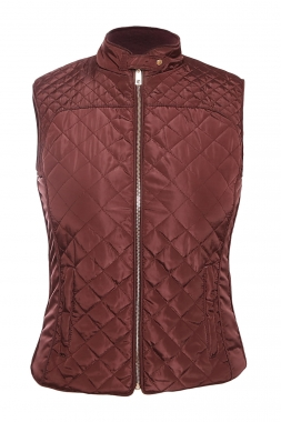 Burgundy Cotton Quilted Vest Coat