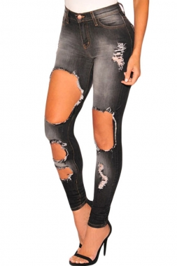 Charcoal Denim Destroyed Skinny Jeans