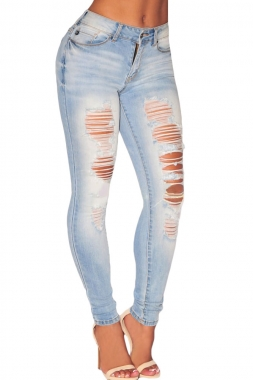 Light Denim Ripped Skinny Jeans