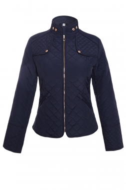 Navy Blue Plaid Quilted Cotton Jacket