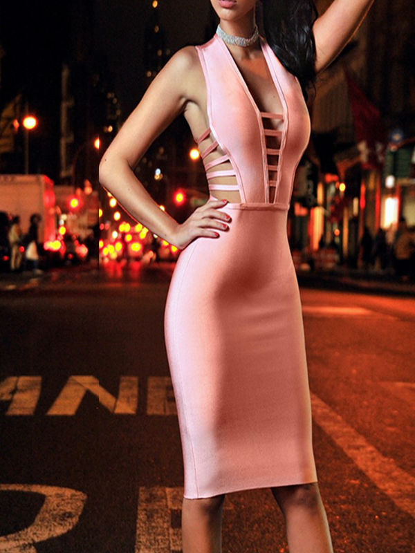 Peach V Neck Sleeveless Backless Bandage