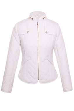 White Plaid Quilted Cotton Jacket