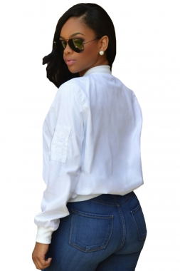 White Cropped Bomber Jacket