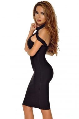 Black Triangle Cutout Bandage Dress