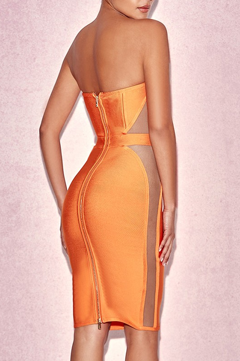 Orange Strapless Sleeveless Mini Mesh