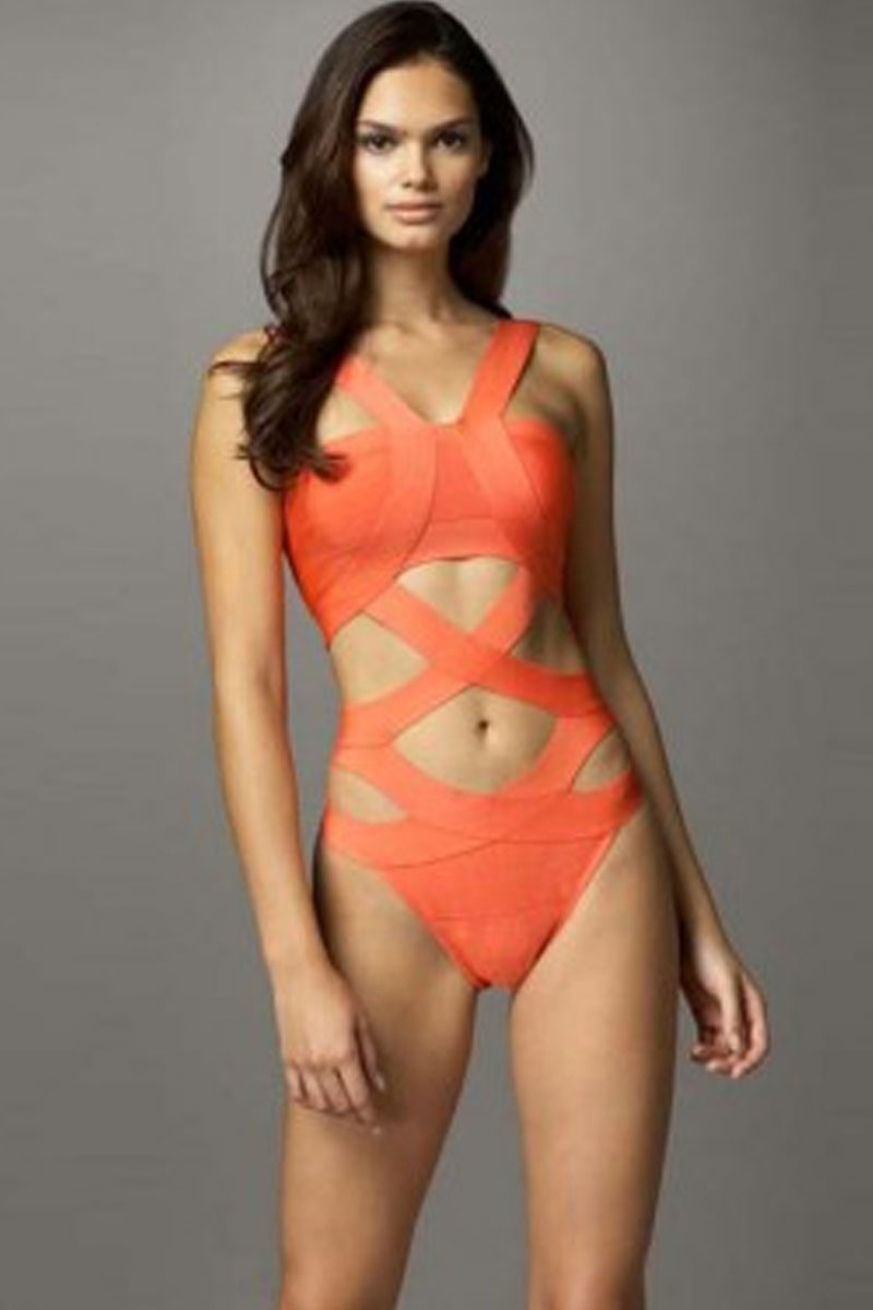 Orange Bandage Bodysuit