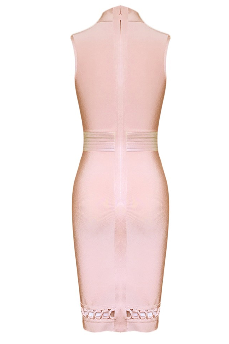 Pink High Neck Sleeveless Cut Out Leather Belt