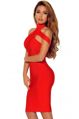 Red Triangle Cutout Bandage Dress