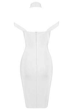 White Triangle Cutout Bandage Dress