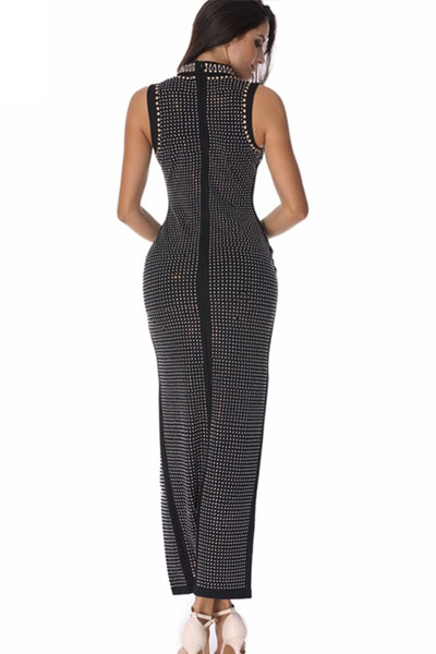 Black High Neck Sleeveless Maxi Beaded Side Slit