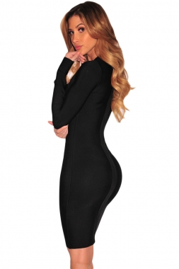 Black Cutout Bodice Bandage Dress