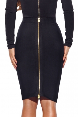 Black Double Zip Slit High Waist Bandage Skirt