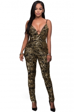 Black Gold Sleeveless V Neck Sequins Jumpsuit
