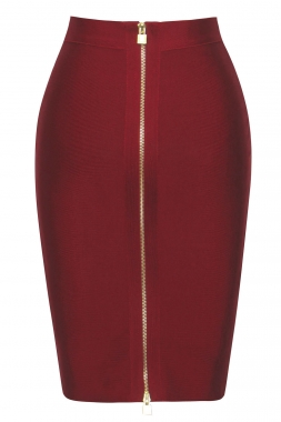 Burgundy Double Zip Slit High Waist Bandage Skirt