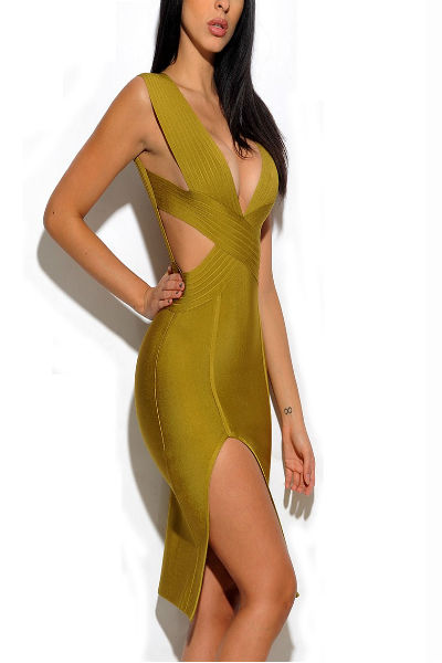 Green Slit Side Bandage Dress