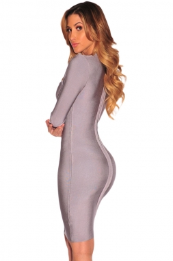 Grey Cutout Bodice Bandage Dress