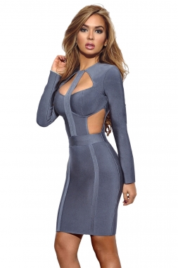 Blue Cutout Bodice Bandage Dress