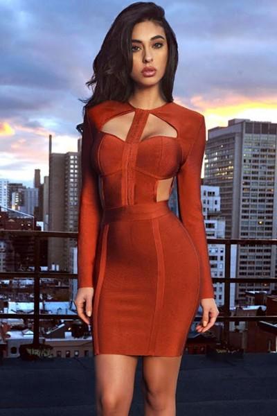 Brown Cutout Bodice Bandage Dress