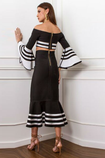 Long Sleeve Maxi Bandage Skirt Set