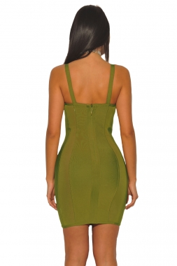Olive Bustier Sheath Bandage Dress