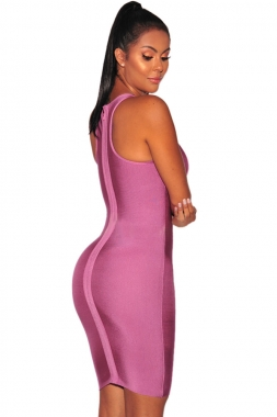 Orchid Sleeveless Cutout Bandage Dress