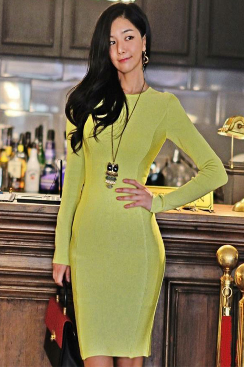 Green Long Sleeve Bandage Dress