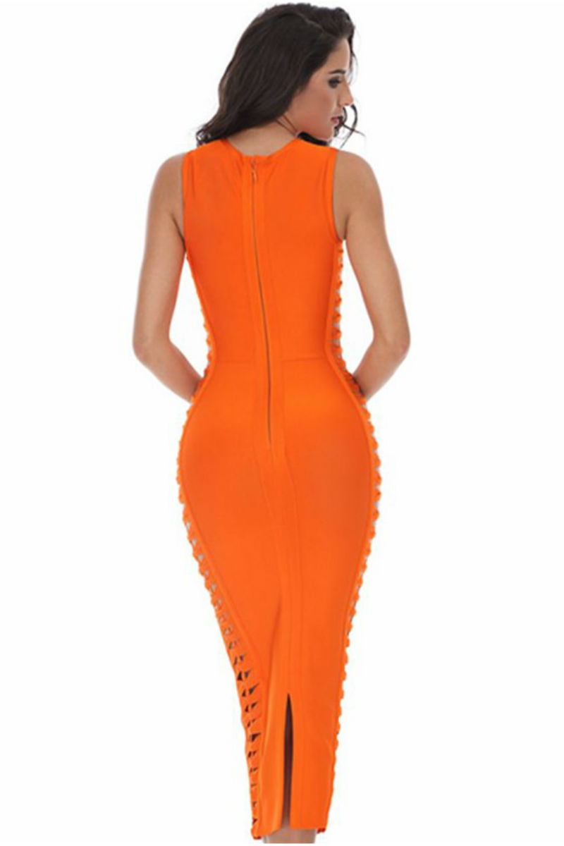 Orange Side Weave Cutouts Midi Bandage Dress