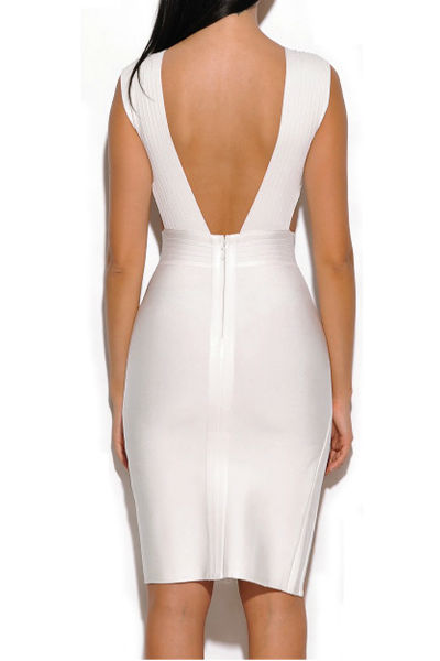 White Slit Side Bandage Dress