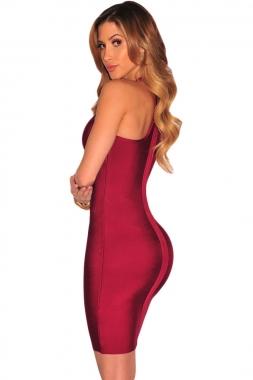Wine Sleeveless Cutout Bandage Dress