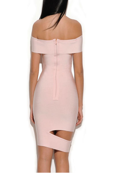 Beige Off Shoulder Cap Sleeve Bandage Dress