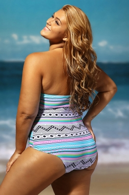 Colorful Print Fringe One-piece Swimsuit