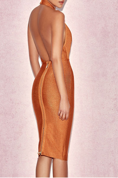 Orange Halter Sleeveless Bandage Dress