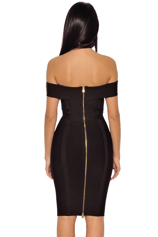 Gold Chain Crisscross Lace up Black Bandage Dress