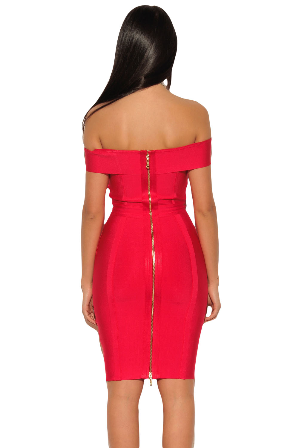 Gold Chain Crisscross Lace up Red Bandage Dress