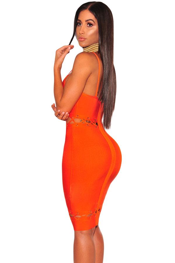 Orange Bandage Lace Up Sleeveless Dress