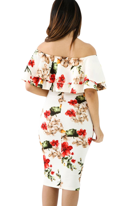 Floral Layered Ruffle Off Shoulder Midi Dress