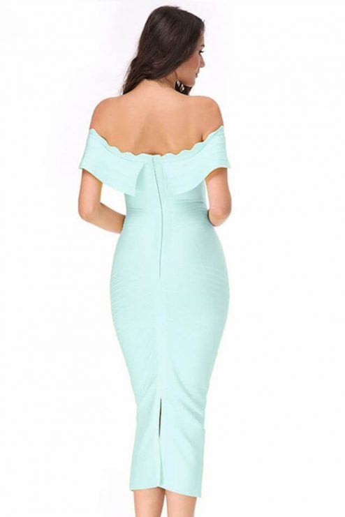 Inne Elegant Off Shoulder Maxi Green Ruffled