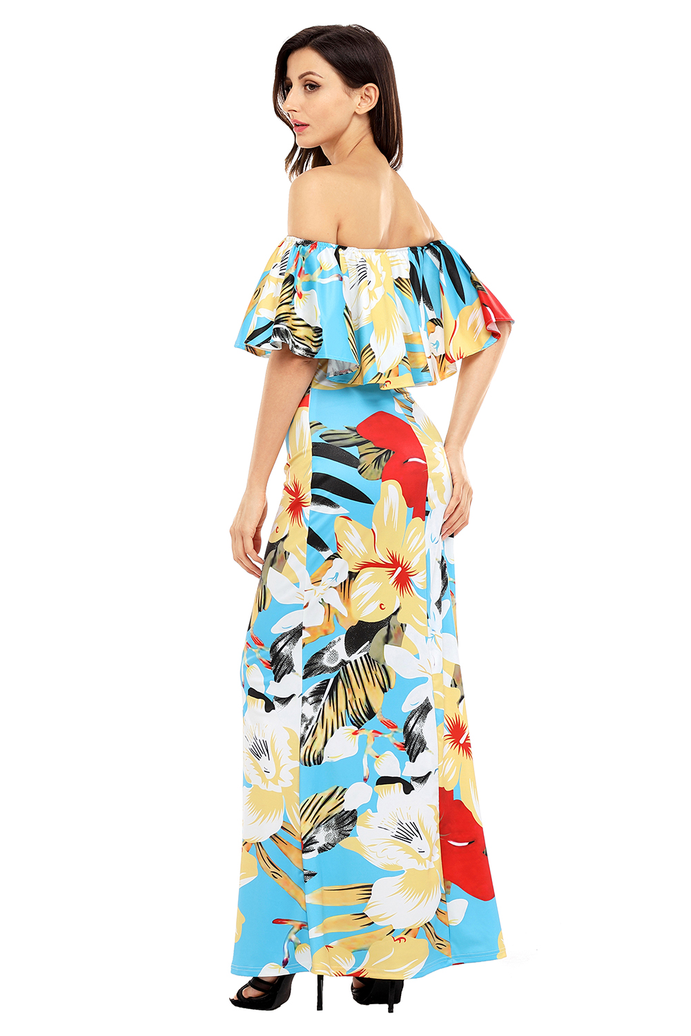 Teal Yellow Floral Print Off Shoulder Maxi Boho Dress