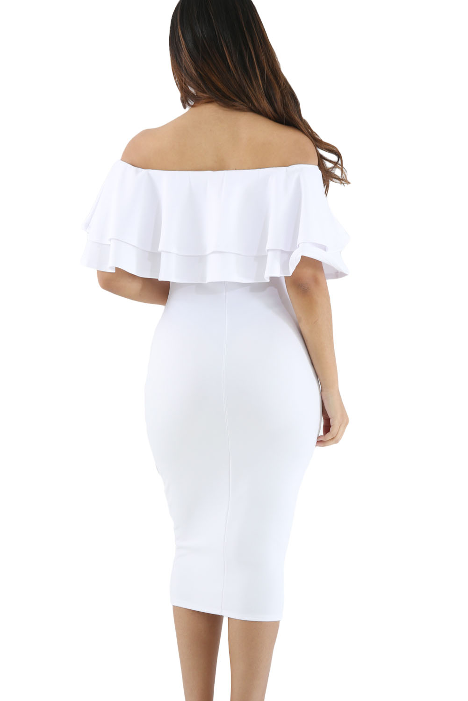 White Layered Ruffle Off Shoulder Midi Dress