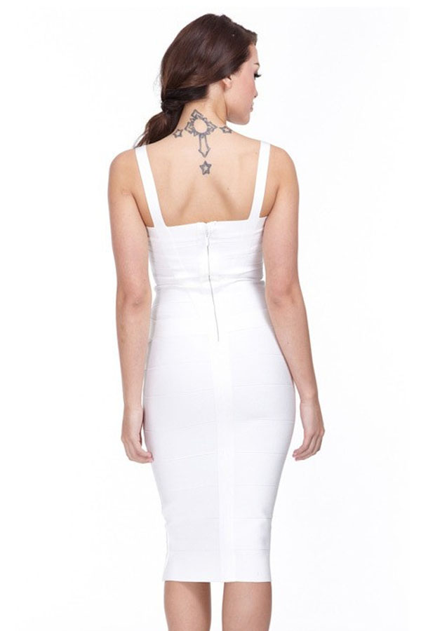 White V Neck Cross Over Sleeveless Over Knee
