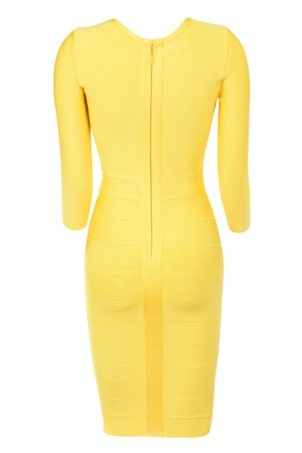 Yellow Round Neck Mid Sleeve Over Knee Cutout