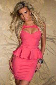 Pink Cutout Peplum Dress